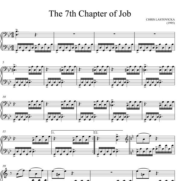 The 7th Chapter of Job - Chris Lastovicka - Piano Solo - sheet music