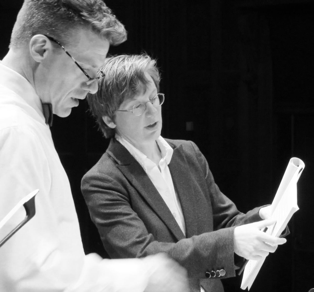 Eastman Women's Chorus conductor Philip Silvey and Chris Lastovicka. Rehearsal of premiere performance of Ryan Songs, Kilbourn Hall, Eastman School of Music, April 17, 2015.
